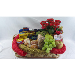 Cesta Matinal com frutas, pães e frios